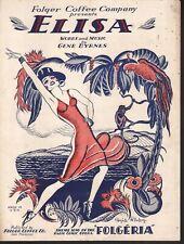"""Elisa 1930 Radio Opera """"Folgeria"""" Theme-Published by Folgers Coffee Sheet Music"""