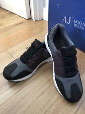 Armani Jeans Mens Retro Antracite Sneakers Training Shoes Uk 10 Eu 44 New
