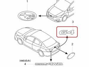 "[NEW] JDM Subaru IMPREZA G4 GK Emblem Rear ""G4"" Genuine OEM"