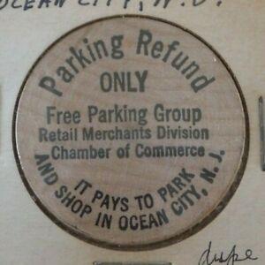 VINTAGE OCEAN CITY NEW JERSEY PARKING REFUND 5¢ WOODEN NICKEL
