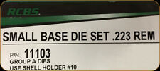 New RCBS 223 Remington Small Base Die Set 11103 New with # 10 shell holder