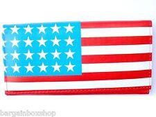 Ladies Girls USA America Stars Stripes Flag Long Clutch Purse Wallet Coin Purse