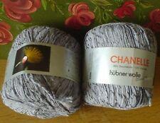 Hübner Wolle Effekt-Garn silbergrau Baumwolle CHANELLE 2 Kn. 100 gr mehr da grau