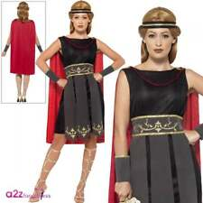 Ladies Roman Warrior Costume Spartan Gladiator Rome Womens Fancy Dress Outfit