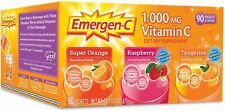 EMERGEN-C Vitamin C 90 PACKETS 1000 mg 3 PACKETS (SUPER O, RASPBERRY, TANG)