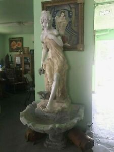 Superb carved solid marble fountain and fairy maiden statue sculpture group set