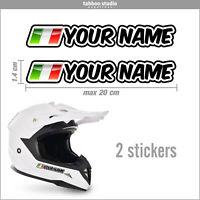 2 adesivi motocross nomi nome e bandiera italia adesivo moto auto bici casco