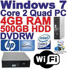 Windows 7 HP Core 2 Quad Desktop PC Computer - 4GB RAM - 500GB HDD - Wi-Fi