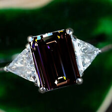 4.75 ct Square Emerald Brown Moissanite Diamond & White triangle 925 Silver Ring