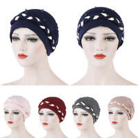 Women Muslim Turban Hat Beads Braid Head Wrap Cover Cancer Chemo Cap Beanie Hat