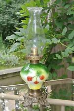 Vgt Green & Yellow Floral Ceramic Victorian Hurricane Oil Table Lamp Electric~G.