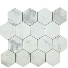 Calacatta Gold Marble 3 inch Hexagon Mosaic Tile Honed