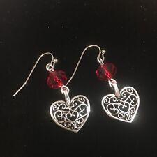 Red crystal glass silver colour handmade heart Valentine dangle earrings UK
