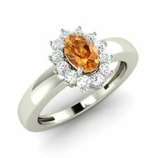 Certified 0.68 Cts Oval Cut Citrine & Diamonds Halo Ring Size 4, 5, 6, 7, 8, 9