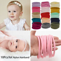 10Pcs Thin Soft Nylon Hairband Kids Headwear Elastic Head Band Girls Hair Bows