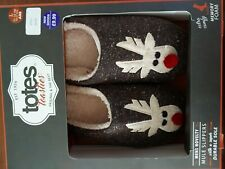 Totes Men's  Reindeer Novelty Mules size 9-10 New