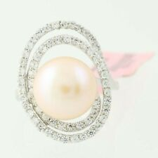 New Cultured Pink Pearl CZ Swirl Halo Ring - Sterling Silver Size 6 Cocktail