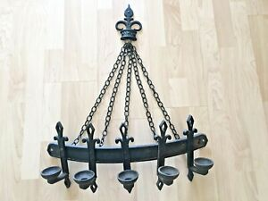 Sexton Wall Hanging Iron 5 Candle Holder Chain Medieval Gothic Candelabra 1966