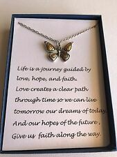 Hope and Love Inspirational Necklace Butterfly Pendant