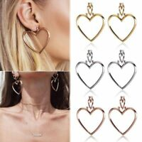 Fashion 1 Pair Heart Shaped Hoop Dangle Earrings Women Jewelry Ear Drop Stud New