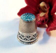 Alter Fingerhut 925 Silber mit blauem Glaskopf old silver Thimble / bn 734
