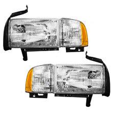 94-02 Dodge Pickup Truck Set of Headlights Headlamps with Corner Lamp