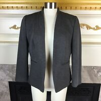 $178 J.CREW Womens 10P Gray Long Sleeve Going Out Stretch Twill Open Blazer