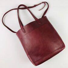 MADEWELL Dark Cabernet Medium Transport Tote Leather Removable Shoulder Strap