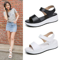 New Womens Platform Slingback Sandals Ankle Strap Low Wedge Casual Summer Shoes
