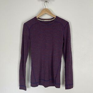 SMARTWOOL Top Pullover Merino Wool Long Sleeve Large Striped Women's