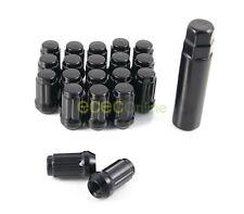 20pc 12x1.5 Spline Black Lug Nuts w/ Key | Cone Seat | Long Closed End Locking