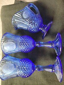 AVON FOSTORIA COBALT BLUE GEORGE MARTHA WASHINGTON MT. VERNON GOBLETS CREAMER