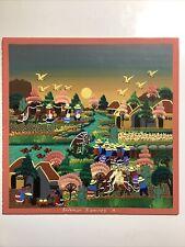 Folk art Signed Solomon Ramires M. scenic Mexican village acrylic on board 12x12