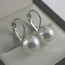 Elegant 9ct White Gold Plated Bridal Faux Pearl Dangle Drop Earrings UK NEW -203