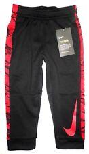 NWT NIKE Toddler Boys THERMA Dri FIT Warm Jogger Sweat Pants Red Swoosh BLACK 3T