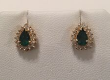 Vintage BITA Effy 14K Yellow Gold Emerald & Diamond Pear Stud Earrings