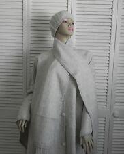 New Womens SZ L Light Gray Alpaca Wool Cloak Cape Ethnic Poncho Scarf Hat Beret