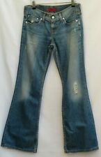 "LEVI's Strauss ❤️ Blue Distressed BOOTCUT LEG JEANS ❤️ UK 8 10 Eur 36 W30"" L29"""