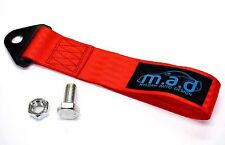 RED M.A.D 280MM TOW STRAP LOOP RECOVERY HOOK TRACK DAY RACE CAR