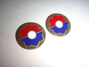 2 États-Unis Armée 9th Infanterie Division De Métal Badges Avec Plat Arrière