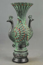 India Mughal Empire - Handmade bronze Double Face Tail Peacock vase - 19th C