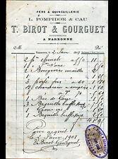 """NARBONNE (11) QUINCAILLERIE """"POMPIDOR & CAU / T. BIROT & GOURGUET Succ."""" en 1908"""