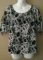 Ann Taylor Loft Petite Small Black And White Blouse Top Keyhole Career