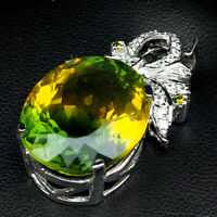 GREEN YELLOW AMETRINE PENDANT OVAL 20.90 CT.SAPPHIRE WHITE GOLD 925 SILVER WOMAN