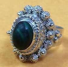 Vintage 925 Sterling Silver Taxco Mexico Malachite Poison/Pill Box Ring