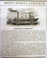1847 newspaper w engraving of the 1st AMPHIBIOUS LOCOMOTIVE automobile INVENTION