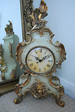 French Rococo Style Large Green & Gilt Finish Mantel Clock H:43cm Unique Quality