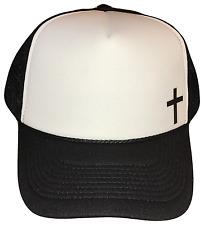 Christian Cross Side Logo Black White Foam Mesh Trucker Cap Caps Hat Hats BLACK