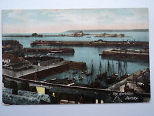 Vintage colour PC The Harbour, Jersey. Posted 1907. Sailing Boats.