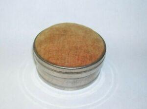 Vintage Round Tin Pin Cushion Sewing Box